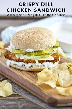Crispy Dill Chicken Sandwich with Greek Yogurt Ranch Sauce