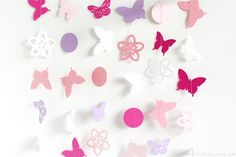 Pink, Purple, White Butterfly Floral Dahlia 10 ft Paper Garland- Wedding, Birthday, Baby Shower, Party Decorations, Garden Party, Tea Party