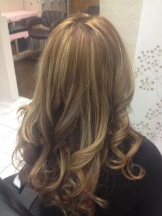 Haircolor by WELLA Base is a 7.1+ 6.1 Highlights were lifted and toned with 8.31