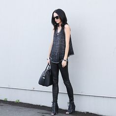 @fifideluxeblog in her J BRAND L8001 Leather Super Skinny in Noir. #InMyJBRAND