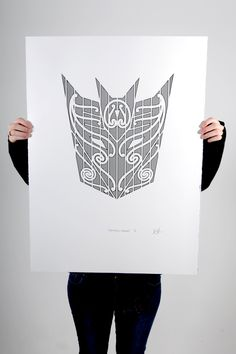 """""""Decepticons, mobilize!"""" Black screen print on 100% cotton 300gsm Pescia paper Paper size 56x76cm Edition of 10 and 1 artist proof"""