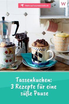 Du hast nur einen Moment, aber große Lust auf ein Stück frischen Kuchen? Dann sind unsere Tassenkuchen Rezepte genau das Richtige für dich! Alles was du brauchst, sind eine Mikrowelle, 5 Minuten Zeit und ein paar wenige Zutaten. #tassenkuchen #kuchen #backen Pause, Moment, Kitchen Appliances, Chocolate, Few Ingredients, Microwave, Diy Kitchen Appliances, Home Appliances, Kitchen Gadgets