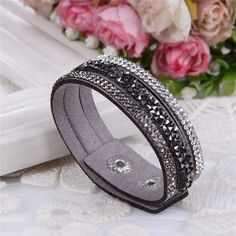 Leather Crystals Bracelets