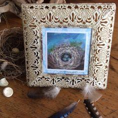 Bird Nest Painting/Free Shipping/Shabby by BlueStockingGallery