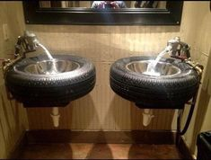 Old Tires Recycled in Washroom