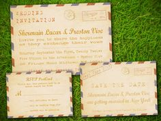 Vintage Rustic Retro Old Fashioned Airmail PostCard Wedding Invitation Suite. Set of SaveTheDate, Invite and RSVP.  - Double Sided Printable. $35.00, via Etsy.