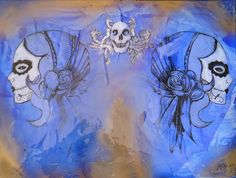 """Dos Mujeres - Azul/Oro""   Original Study   Mixed Media, Distressed Paper, Lacquer on Canvas   24"" x 18"""
