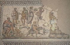 Bacchic mosaic depicting scenes of the myth according to which Bacchus donated to mankind the secrets of the cultivation of grapes and winemanking, second half of the 2nd century AD or early 3rd century AD, Museo Histórico Municipal de Écija