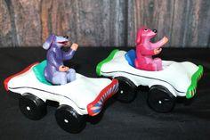 Dog Driving a Bone Car - SOLD SEPARATELY - Childs room! Mexican folk art Ortega