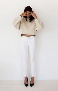 White pants & black heels