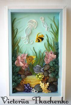 Quilling art, sea bottom