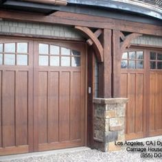 Classic & Traditional Custom Wood Carriage House Style Garage Doors - traditional - garage and shed - los angeles - Dynamic Garage Door Craftsman Exterior, Craftsman Style Homes, Craftsman Bungalows, Craftsman Decor, Craftsman Garage Door, Garage Exterior, Barn Garage, Dream Garage, Exterior Paint