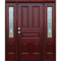 Pacific Entries 66 in. x 80 in. Classic Strathmore Traditional Stained Mahogany Wood Prehung Front Door with 12 in. - The Home Depot Wood Entry Doors, Wood Exterior Door, Patio Doors, Wooden Doors, Front Doors, Front Entry, Wooden Door Design, Main Door Design, Front Door Design