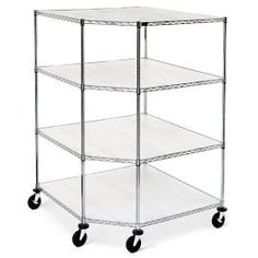 Oversized Chrome Four-Tier Corner Shelf With Liners - Frontgate