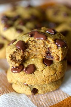 These Flourless Pumpkin Chocolate Chip Cookies are the perfect combination of soft and chewy! These cookies are almost too good to be true considering they are also grain free, flourless, and no sugar added!