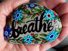 breathe / painted rocks / painted stones / rock art / rest now / relax / release / trust / let go / yoga / beach stones / cape cod by LoveFromCapeCod on Etsy