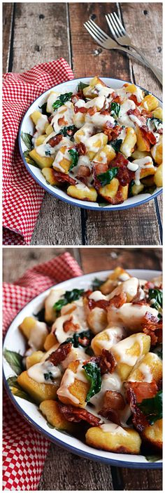 Roasted Garlic Gnocchi with Bacon, Spinach, and Smoked Gouda Cream Sauce