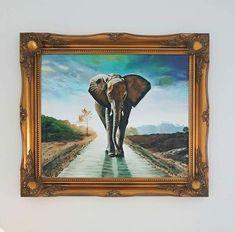 Slon Akryl na plátne, 60x50 Frame, Painting, Home Decor, Art, Picture Frame, Art Background, Decoration Home, Room Decor, Painting Art