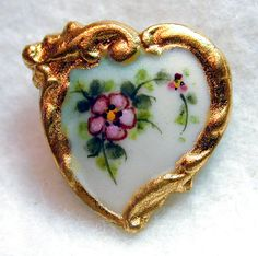 Handcrafted Porcelain Button Heart w Wild Rose Gold Border Free US Shipping | eBay