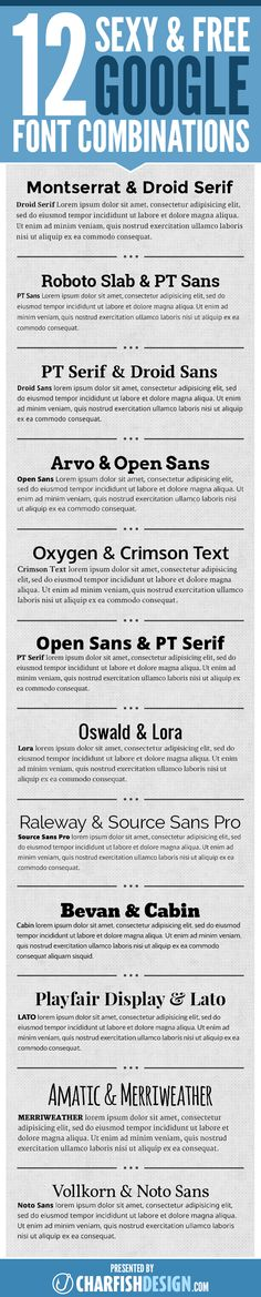 12 sexy & free Google font combinations to use in your graphic designs, print projects, and websites. Getting your fonts working well together can make a big difference in the appearance, readability, and professionalism of your projects. These Google fonts are not only free, but can be used for graphic, print, and online projects.