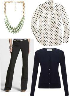 Styled J.Crew polka dot popover // statement necklace // black slacks // skinny belt // cardigan #jcrew #styled   http://www.ShoppingMyCloset.com
