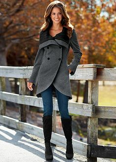 Cable Knit Collar Coat...I don't know why, maybe because the collar is unique and the cut is different but I like this coat.  Like the jeans too.