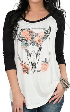 Lovely Souls Floral Skull with Black Sleeves Casual Knit Top | Cavender's