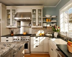 """""""Modern"""" Country Kitchen  -Gas Stove  -Glass doored cabinets"""