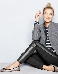 NOV '15 Style Guide: J.Crew women's black plaid Regent blazer with satin lapel, Saint James® for J.Crew slouchy T-shirt, pixie pant with leather tux stripe and Gemma glitter flats.