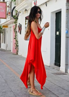gorg red sun dress, cuff and straw shoes. I want to be wearing this in the south of France NOW.