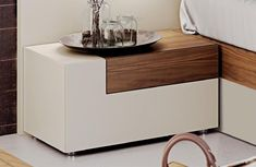 Elena price for King Size Bed, This amazing european-made king bed is two-toned - ivory and modern walnut finish. Matching nightstand, dresser and mirro available.King Size Bed x x Diy Furniture Projects, Design Furniture, Bedroom Furniture, Modern Furniture, Bedroom Decor, Italian Furniture Stores, King Size Bedroom Sets, Platform Bedroom, Side Tables Bedroom