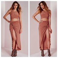 Misguided Knotted Wrap Skirt  They're finally here from the UK!    Inventory: I have 2 Size 4s!   Color: Rust   PLEASE DO NOT BUY this master listing.. (Comment & I will create your own separate listing to checkout.)   Price is firm. NO Trades. ❤️ Missguided Skirts High Low