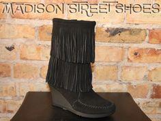 Minnetonka Calf High Double Fringe Wedge Boot in Black