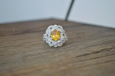 Golden Topaz Cocktail Ring - Sterling Silver Ring - Unique Cocktail Ring - Yellow Gemstone Ring - Large Cocktail Statement Ring