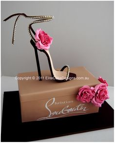 Christian Louboutin Stiletto Novelty Birthday Cake by Elite Cake Designs. Our signature series Christian Louboutin Stiletto novelty cake design. Shoe & flowers are finely hand sugarcrafted to detail. Gorgeous Cakes, Pretty Cakes, Amazing Cakes, Novelty Birthday Cakes, Novelty Cakes, Crazy Cakes, Fancy Cakes, Pink Cakes, Unique Cakes