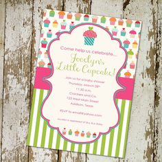 girl baby shower invitations or 1st birthday by katiedidesigns, $13.00