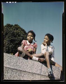 Two little girls in a park near Union Station, Washington, D.C.  (LOC)