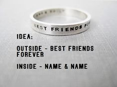 Quote Idea - Personalized Ring, Best Friends Ring, BFF, Ring Idea, Best Friends Forever, Stamped Ring, Solid Sterling on Etsy, $39.00