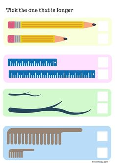 Worksheet:Long or short Tick the one that is longer and color the one that is shorter. Math Activities For Kids, Preschool Lessons, Teaching Math, Preschool Activities, Teaching Geography, Math Coloring Worksheets, Printable Preschool Worksheets, Kindergarten Math Worksheets, Maths
