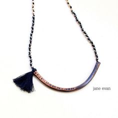 Black Statement Rosario Tassel Necklace by janeevanmetalwork