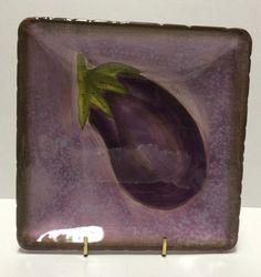 Clay Art Appetizer Plate 6 3 4 034 Serving Dish Purple Eggplant Vegetable   eBay