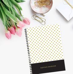 Personalized Notebook  Gold Spots  Custom by LetterLoveDesigns