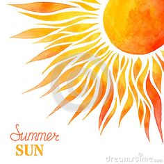Watercolor summer sun background.                                                                                                                                                     More