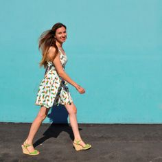 Pineapple dress and wedges. Outfit of the day