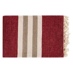 Surya Troy Smooth Stripe Throw - 50L x 70W in. Ivory / Burgundy - TOY7003-5070