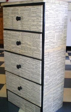 Mod Podge dresser with book pages. I think this would make a really cool bookcase! Maybe even with old childrens book pages in a play room! Decoupage Furniture, Cardboard Furniture, Repurposed Furniture, Painted Furniture, Diy Furniture, Graffiti Furniture, Decoupage Dresser, Wallpaper Furniture, Ikea Dresser