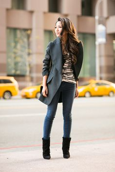 Casual Holiday :: Structured jacket & Slouchy boots (via Bloglovin.com )