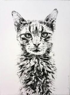 """minki"" charcoal on canvas, Nicol Lunardi Charcoal, Fine Art, Canvas, Tattoos, Animals, Tela, Tatuajes, Animales, Animaux"