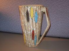 Mid Century Modern European Italian Art Pottery Splatter Embossed Water Pitcher