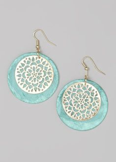 Gold & Aqua Shell Medallion Drop Earrings